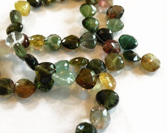 Multi-color tourmaline faceted briolettes.  Approx. 7x7mm.  (9 beads)
