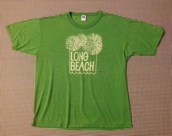 1980's, green, Long Beach, t-shirt, Men's size XL