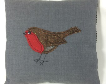Robin bird applique pillow / cushion 30cm x 30cm