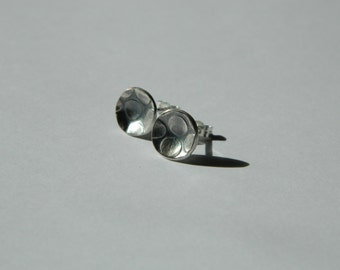 Irregular Circles Silver Earrings - Sterling Silver Studs