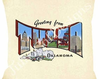 Greetings from Tulsa 3 Pillow Cover