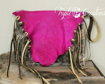 Cowhide and Fuchsia Leather Clutch
