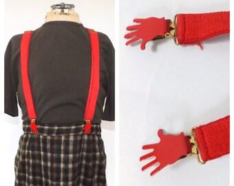 Vintage High Five! Suspenders 1980s Red Hand Clip Suspenders Men Women Costume Clown Suspenders Hipster Hip Hop Retro Novelty Gift Gag Gift