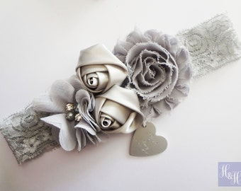 Personalised Bronze or Grey Vintage Wedding Garter with satin roses and flowers