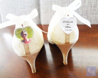 Custom Shoe Wedding Memory Charms - Set of two in a heart shape