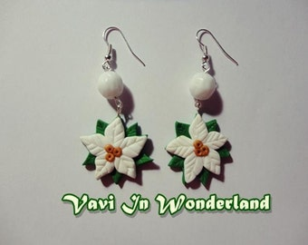 White poinsettia Earrings Polymer Clay Fimo Handmade