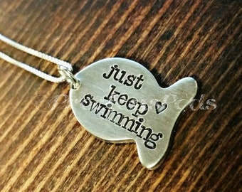 Just keep swimming necklace,  Custom quote, Religious Jewelry, inspirational staying, fish necklace, christian fish gift, finding Nemo