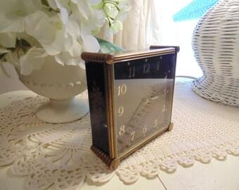 1950s Semca Jeweled Swiss Clock Boudoir Alarm Clock