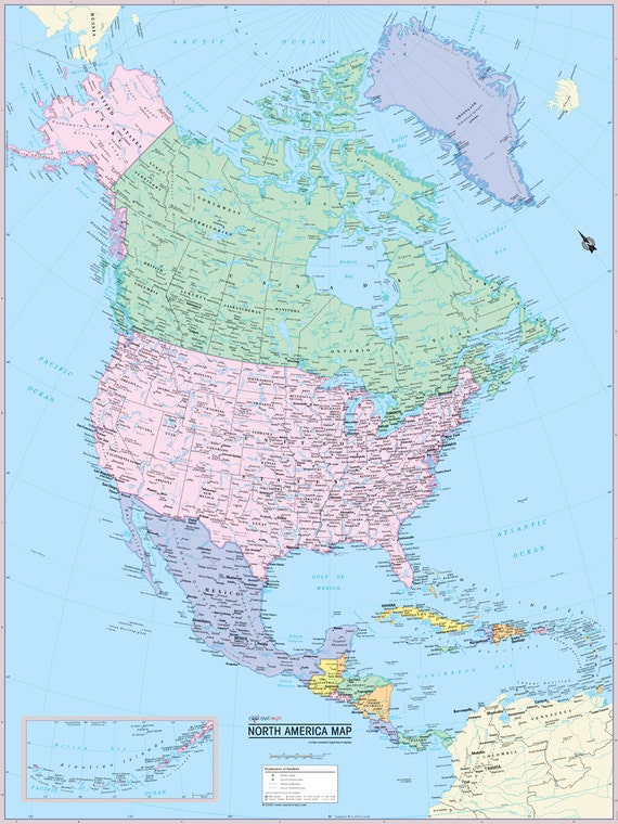 North America Continent Map Wall Poster - American continent map