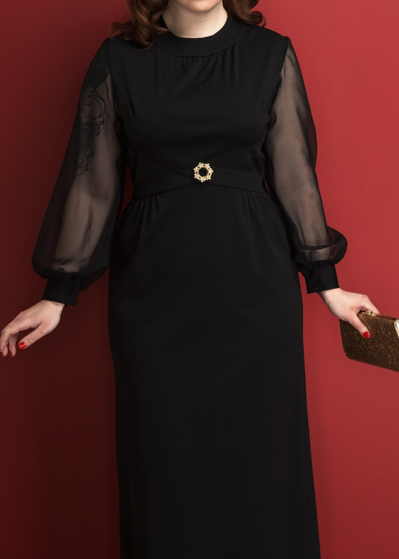 Vintage Black Chiffon Coctail Dress