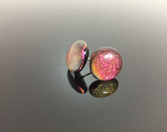 Dichroic Fused Glass Earrings Studs #9