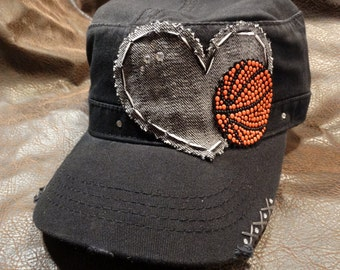 I Heart Basketball Distressed Cadet Hat