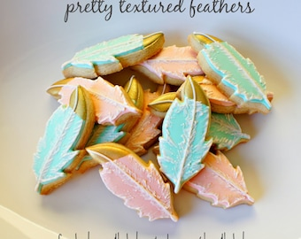 Pretty Textured, Gold Tipped Feather Shaped Sugar Cookies - 16 pcs
