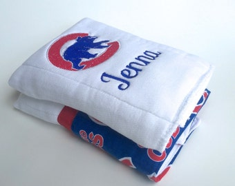Baseball burp cloth etsy chicago cubs baseball personalized burp cloths baby burp cloth personalized baby negle Choice Image
