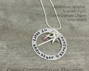 My Fairy Godmother Necklace with Wand - Hand Stamped Jewelry