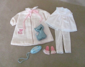Vintage Skipper Clothes, 1960's Skipper Outfit, #1909 Dreamtime, Skipper Pajamas, Accessories, Vintage Skipper Outfit, Barbie's Sister