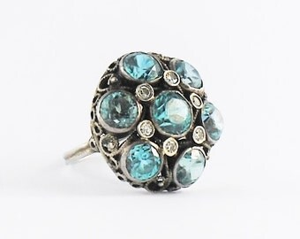 Antique Blue Zircon Ring - Sterling Silver