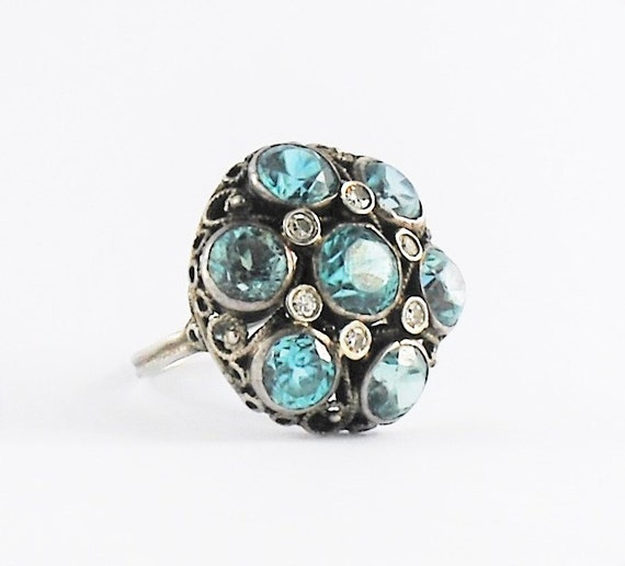 antique blue zircon ring sterling silver