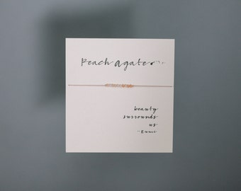 Friendship Bracelet - Peach agate Friendship Bracelet on Silk - Light pink