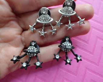 Planet star crystal jacket earring