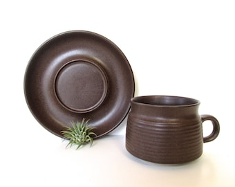 Vintage Denby Langley Mayflower Brown Stoneware Cup And Saucer, Vintage Modern Coffee Cup