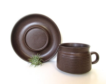 Vintage Denby Langley Mayflower Brown Stoneware Cup And Saucer, Vintage Modern Coffee Cup, Denby Teacup And Saucer