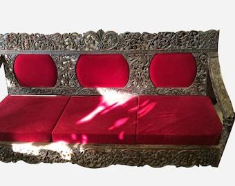 Antique Teak Sofa Hand Carved Vintage Sofa Vintage Indian Bench