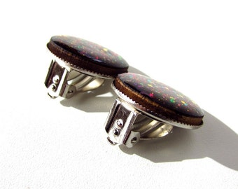 Galaxy clip on earrings - glitter jewelry, Galaxy jewelry, birthday gift for her wood jewelry Galaxy earrings, wood earrings clip earrings.