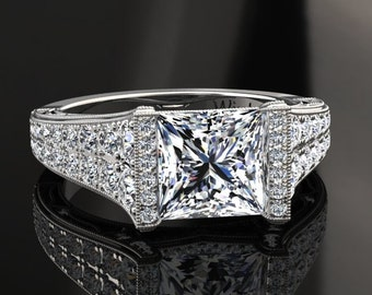 Moissanite Engagement Ring Princess Cut Moissanite Ring 14k or 18k White Gold Matching Wedding Band Available W25MOISW
