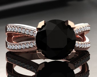 Natural Black Diamond Engagement Ring Black Diamond Ring 14k or 18k Rose Gold SW7BKDR