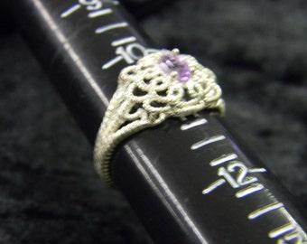 Sterling Silver 925 Brilliant Purple Satfire Stone Ring Size 11 ET 6093