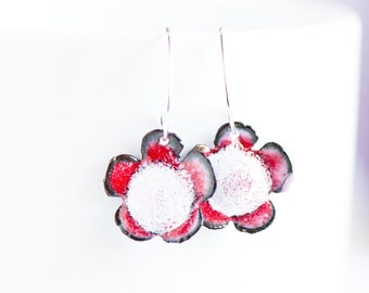 Small Flower Enamel Earrings, Red White, Sweet Jewelry, Bloom Earrings, Handmade Sterling Ear Wires, Hippie Boho Jewelry, Gift for Girl