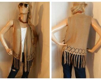 Vintage Hippie Boho Knit Fringed Vest Earth Tones Size S-L
