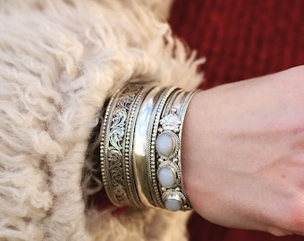 ON SALE Open Cuff Tibetan Jewelry, Bohemian Bracelet