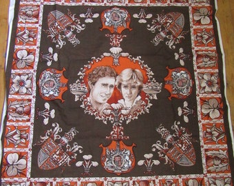 Vintage 80's royal wedding fabric Charles & Diana memorabilia