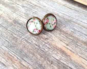 Mint floral Antique Bronze Stud Earrings