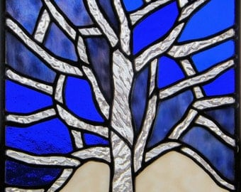 Stained Glass Panel Clear Textured  Tree  Blue Purple White Original Glass Art