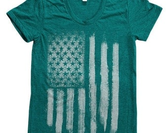 SUMMER SALE American Flag Women Tri-blend American Apparel Track Shirt Hand Screen Printed