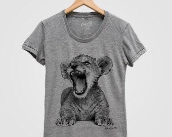 LION CUB Shirt Women Custom Hand Screen Print Tri-Blend Short Sleeve Tshirt Available: S, M, L, XL