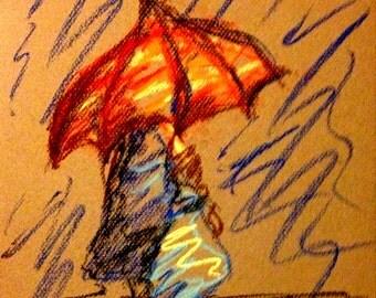 Original pastel drawing from Artisan - Rain on me Sunday