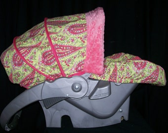 Paisley with Coral Car Seat Cover