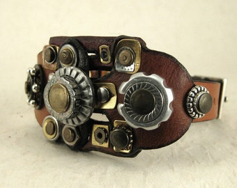 332 Steampunk Burning Man Assemblage Palimpsest Bracelet Recycled Jewelry Industrial Machine Age