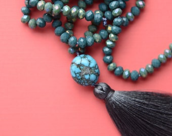 Turquoise Knotted Long necklace
