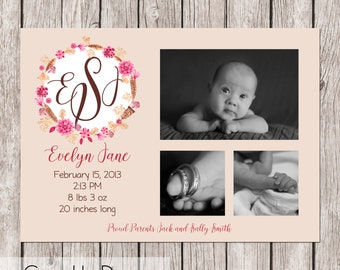 Boho Chic Monogram Announcement  - Customizable, up to 3 Photo, pink/coral/girly - 5 x 7 - Printable