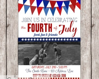 4th of July Typography Invitation - With Picture - Customizable - Printable - 5x7