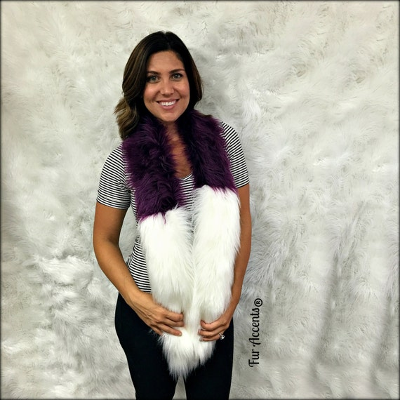 Luxury Faux Fur Scarf Creamy White Purple Grape By Furaccents