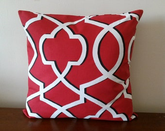 Red Pillow Cover, Red Geometric Pillow Cover, Decorative Pillow Cover, 20''x20''