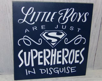 Little Boys Are Just Superheroes In Disguise, Superhero Sign, Boys Room Decor, Superhero Bedroom, Boys Navy Bedroom Decor