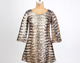 Vintage 60s MOD Gold Sequin Mini Dress - Size M