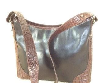 SUMMER SALE Genuine vintage  BRAHMIN brown and black leather shoulder bag croc pattern
